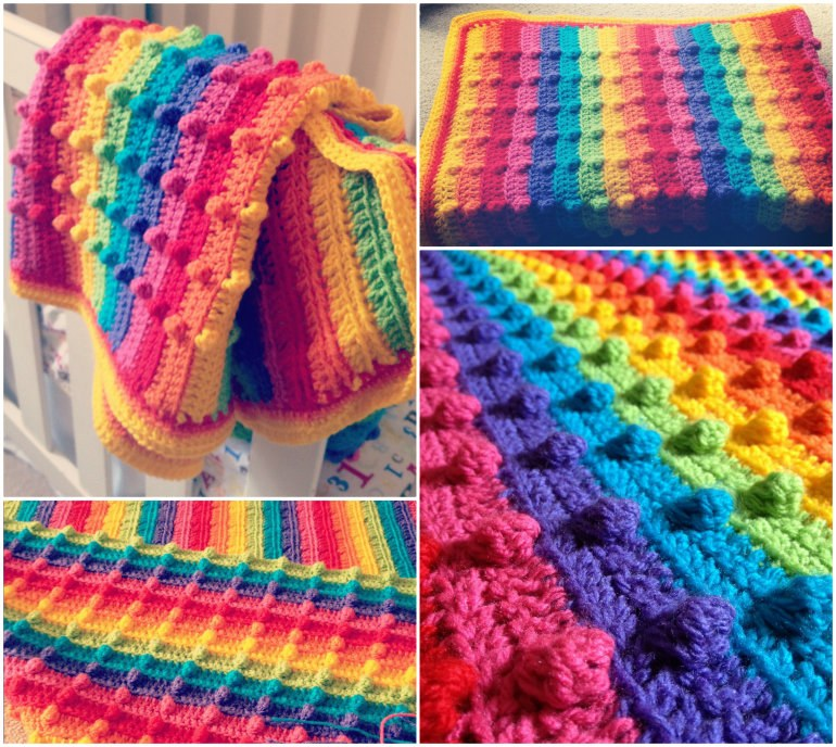 Bobble-Stitch-Rainbow-Blanket-