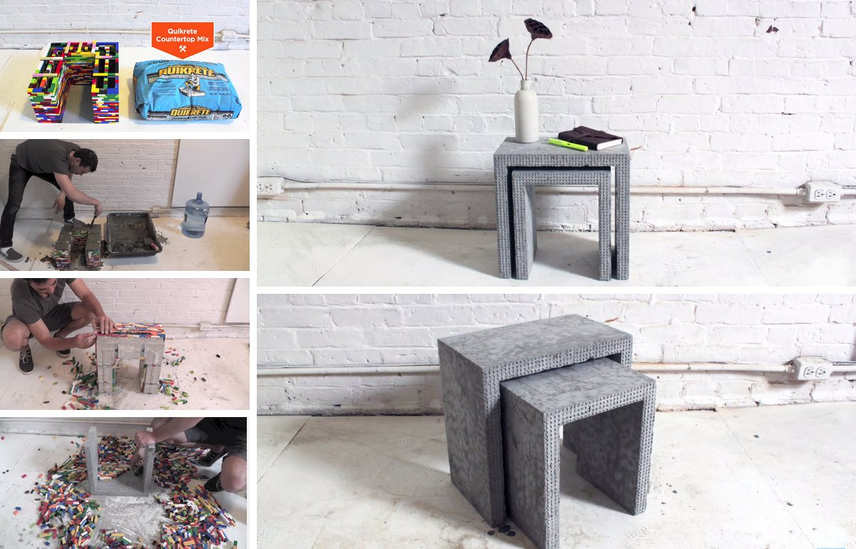 Concrete Nesting Tables from LEGO mold Using Lego Bricks to Create These Awesome DIY Concrete Nesting Tables!