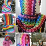 Wonderful DIY Crochet Colorful Hoodie cowl with FREE pattern