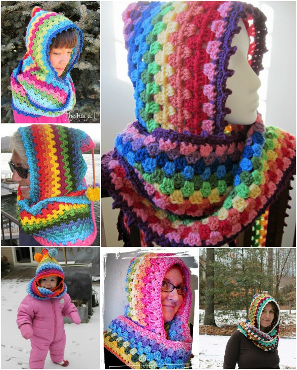 Crochet Colorful Hoodie cowl-wonderfuldiy
