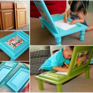 Wonderful DIY Cupboard Door Art Desk for Kids
