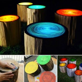 Wonderful DIY Glowing in the Dark Log Campfire Stools
