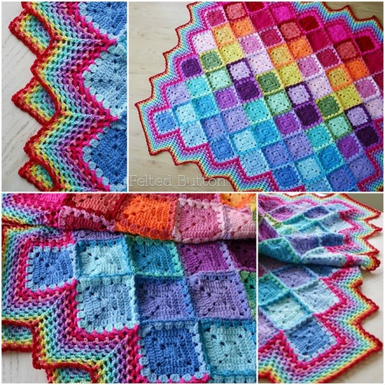 Happy Harlequin Crochet Blanket 550x550 Wonderful DIY Crochet Spring Into Summer Blanket