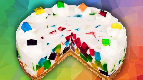 Rainbow Jell O Cake When Baking Meets Bejeweled Magic