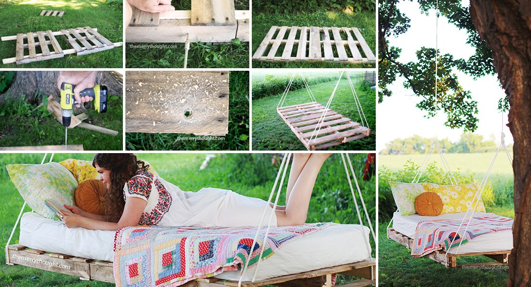 Swing bed made from pallets DIY Pallet Swing Beds Bring Relaxation to Your Home