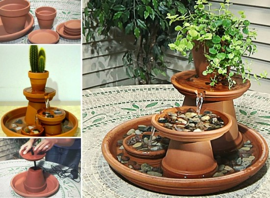 diy terracotta tabletop fountain project for outdoors. Black Bedroom Furniture Sets. Home Design Ideas