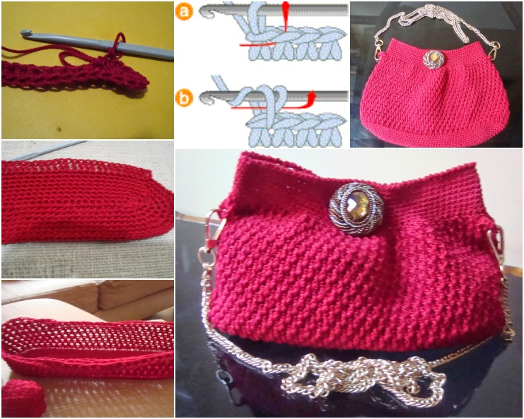 crochet evening purse wonderfuldiy f Crochet Generous Evening Purse with FREE Pattern