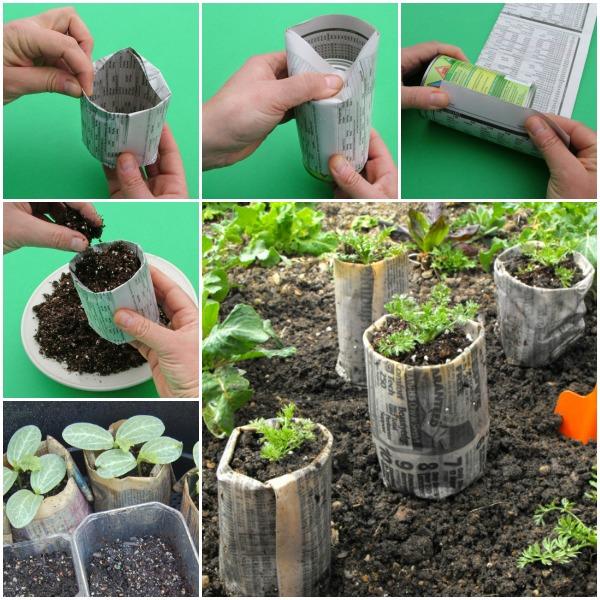 newspaper pots-wonderfuldiy
