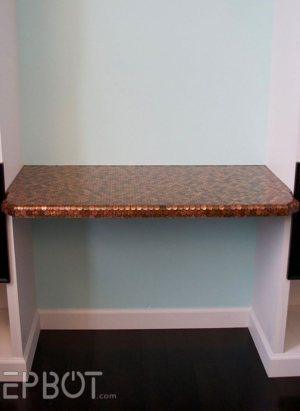 DIY Penny work table Copper Creativity:  DIY Penny Desk that Steals the Show!