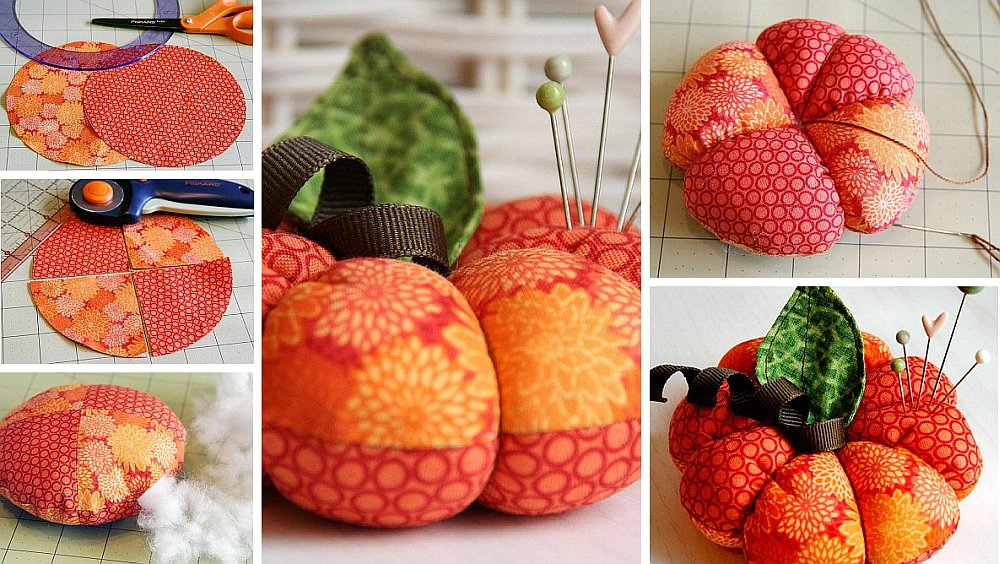 Sewn Pumpkin Pincushion Colorful and Plush DIY Fabric Pumpkin Pincushion