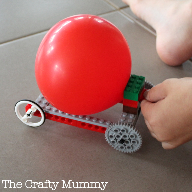 attach a ballon to a lego car