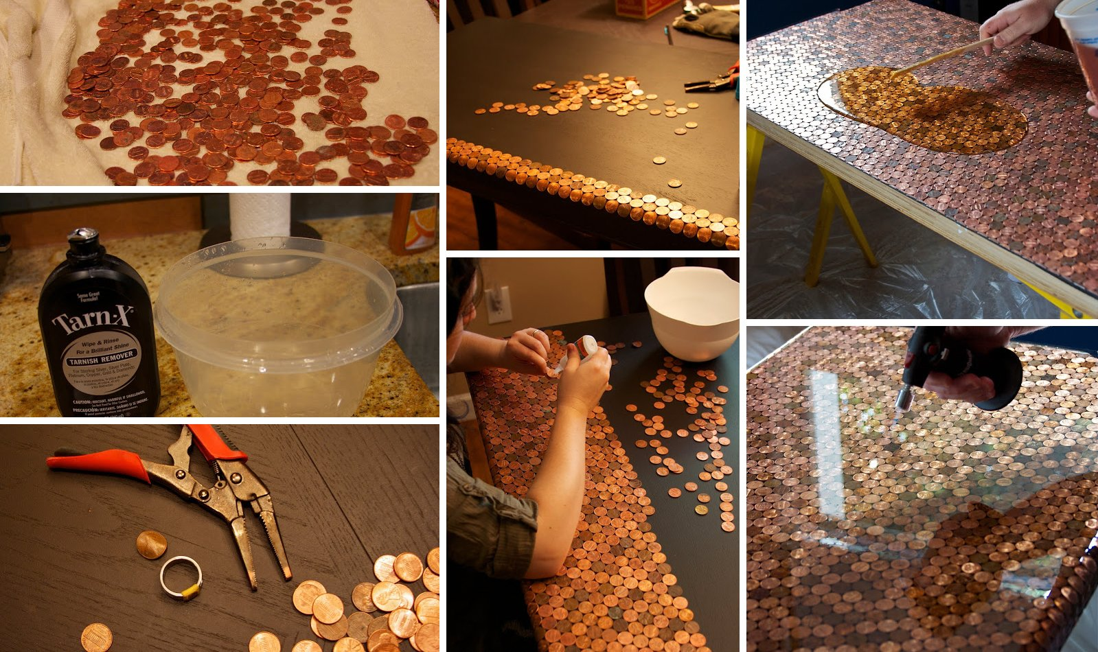 copper penny table diy Copper Creativity:  DIY Penny Desk that Steals the Show!