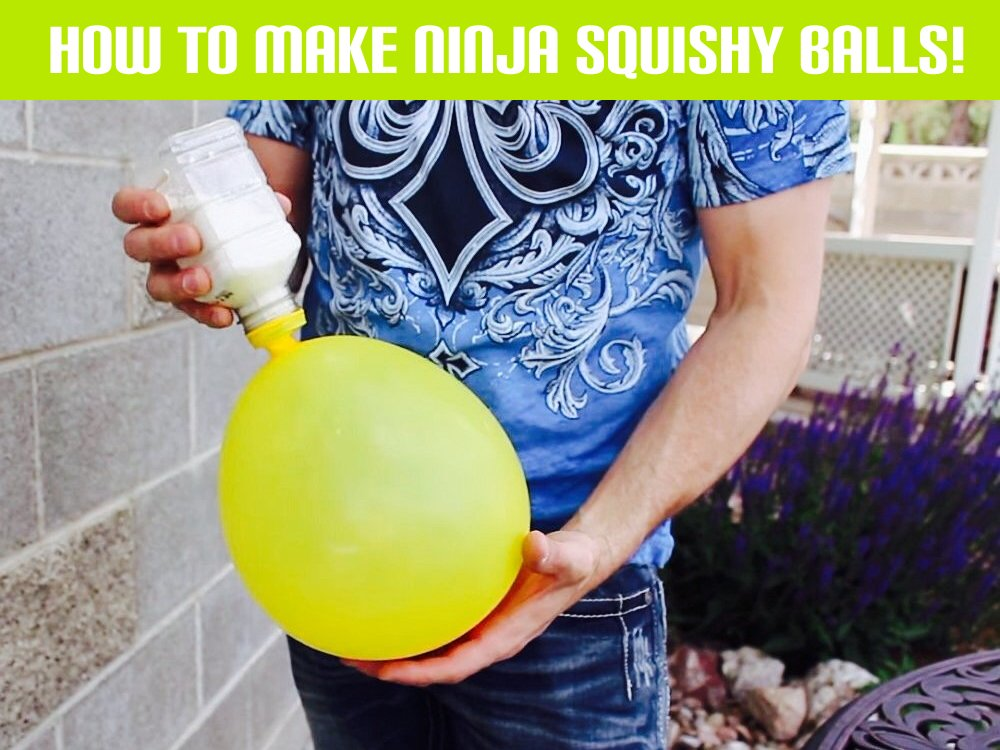 fill baloons with flour Party Balloons and Flour Turned into Awesome Ninja Squishy Balls!