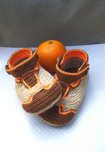 Nike orange crochet booties