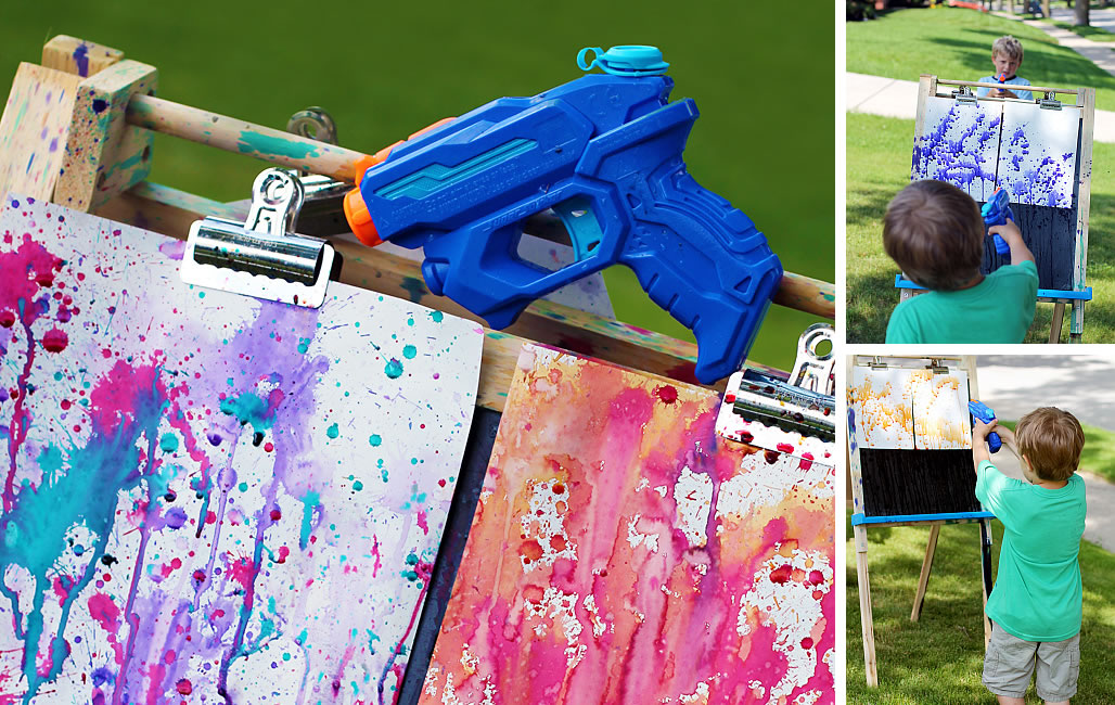 Squirt Water Gun painting with kids Fun Art: Squirt Gun Painting With Kids