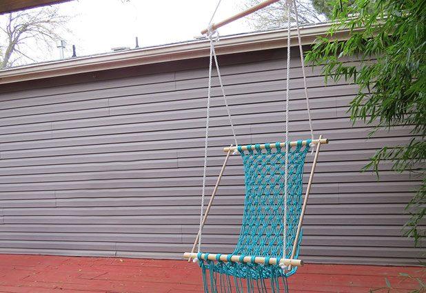blue macrame hammock