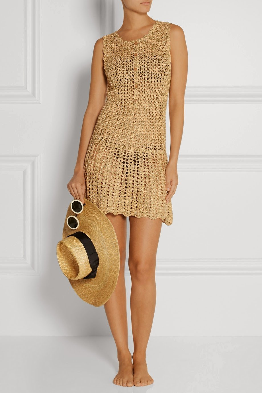 golden crochet summer dress