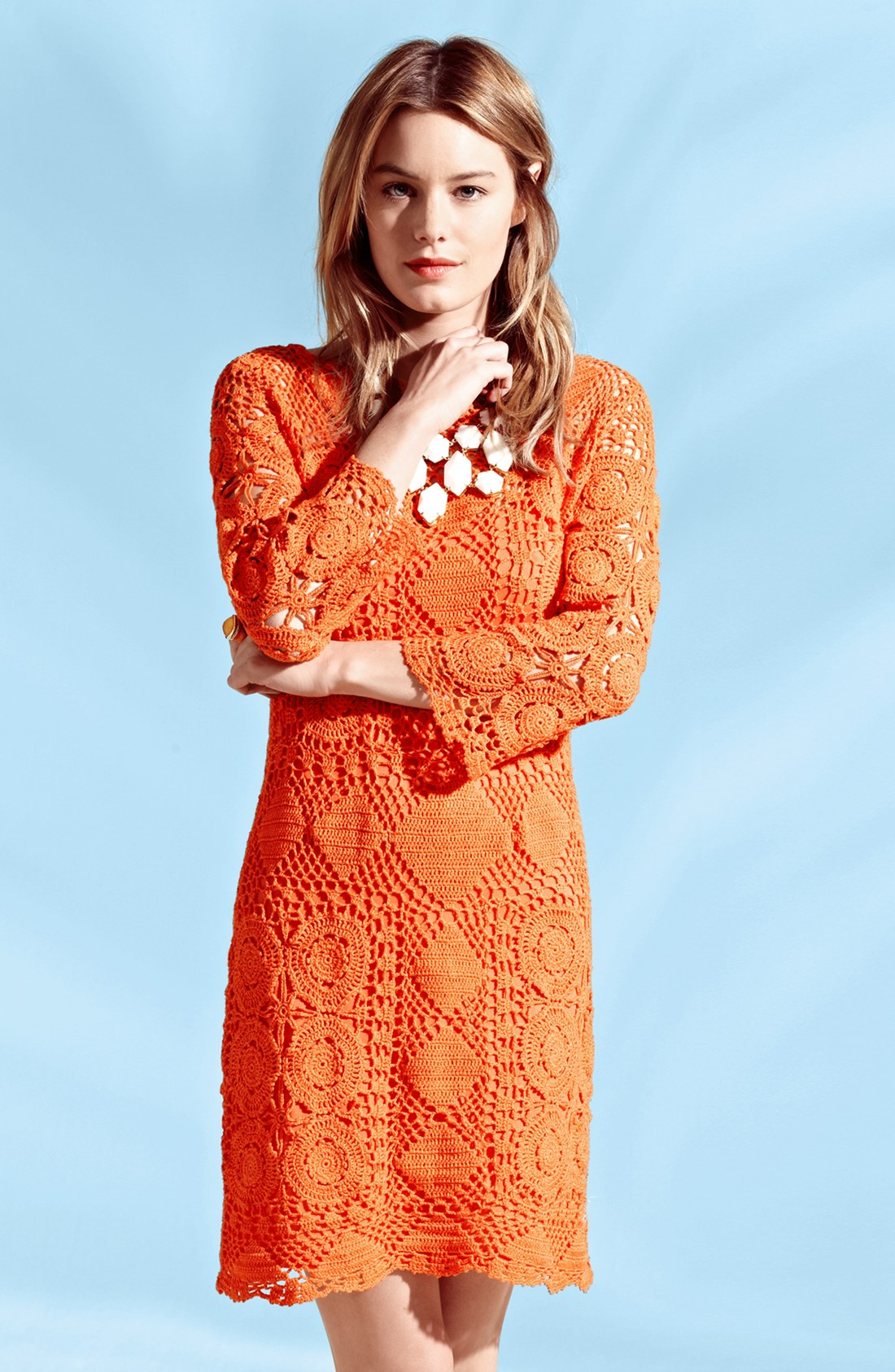 orange crochet summer dress