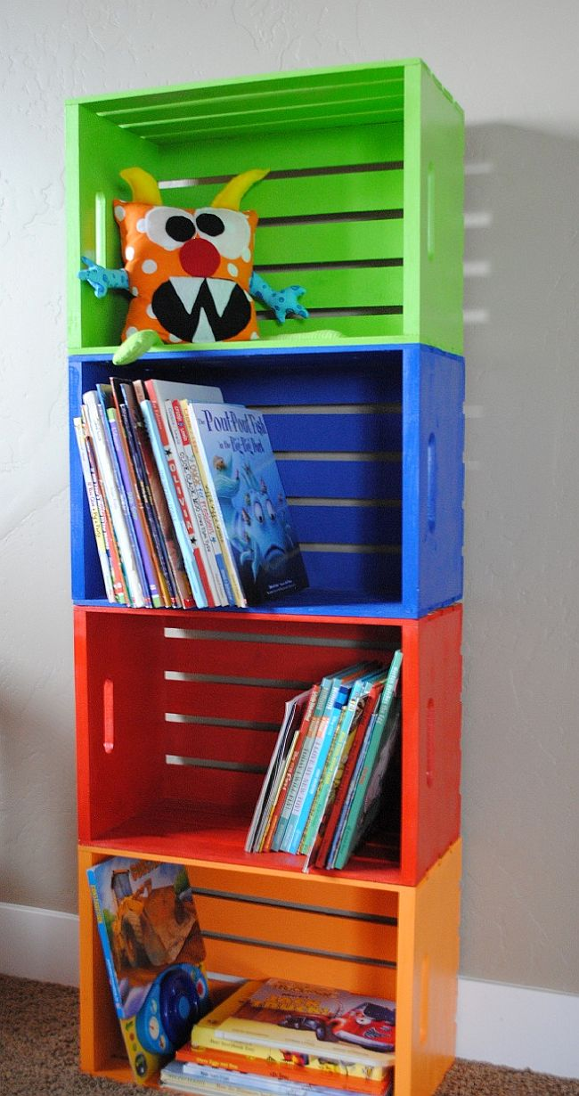 Colorful Crate Bookshelf DIY