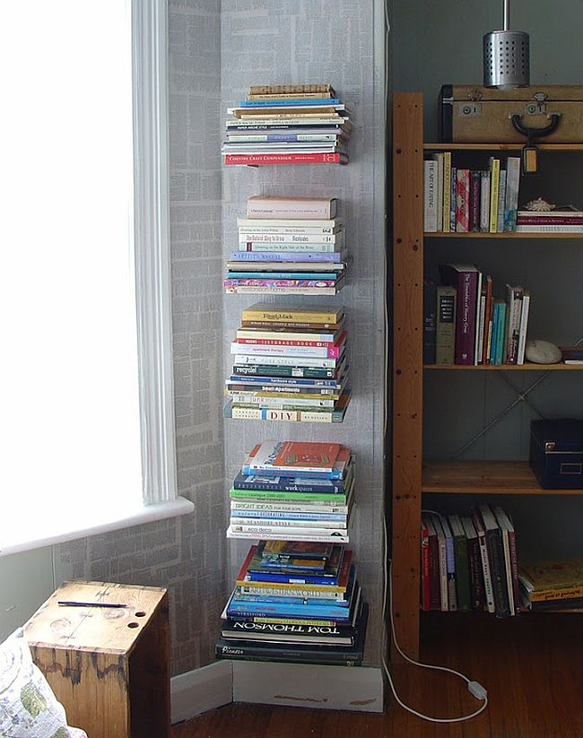 Invisible wall-mounted bookshelves
