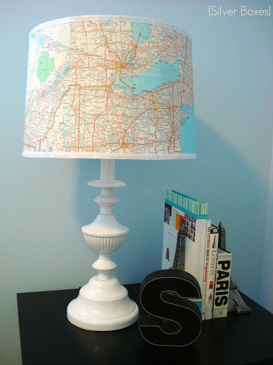 13 thrifty and clever lamp shade makeovers view in gallery map lamp shade mozeypictures Gallery