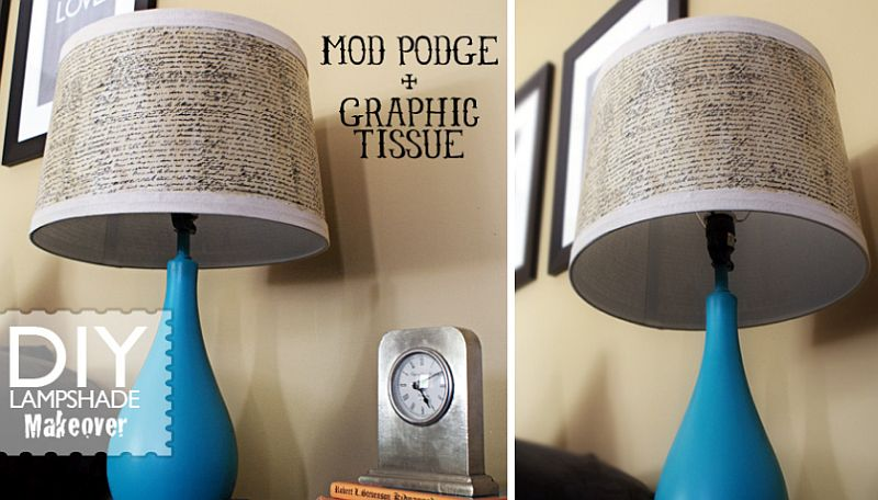 Mod Podge and Graphic Tissue Paper Lamp Shade