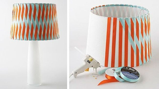 13 thrifty and clever lamp shade makeovers view in gallery woven ribbon lamp shade aloadofball Image collections