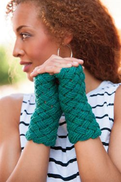 Basket Weave Fingerless Gloves