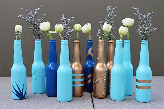 Beer bottle vase