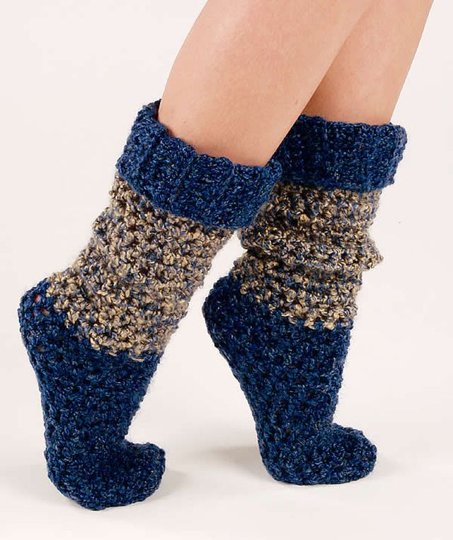 Blue Tweed Women Crochet Socks