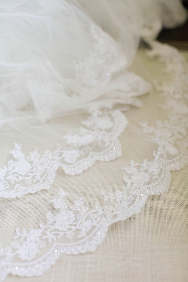 Closer look at the intricate Lace Veil Design