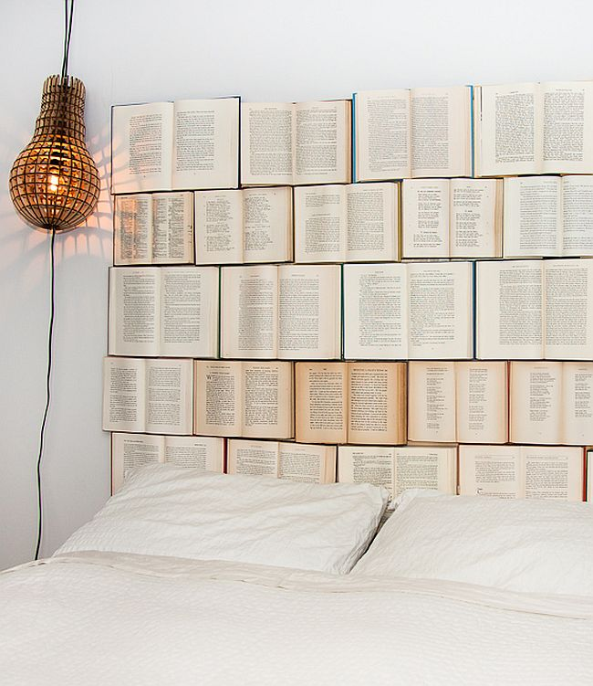 Custom headboard crafted from books
