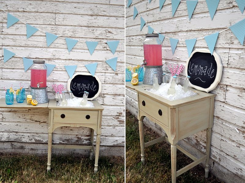DIY Lemonade Stand from Sewing Table