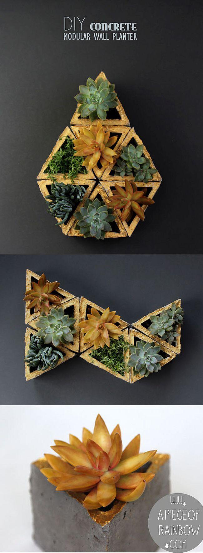 DIY concrete modular wall planter
