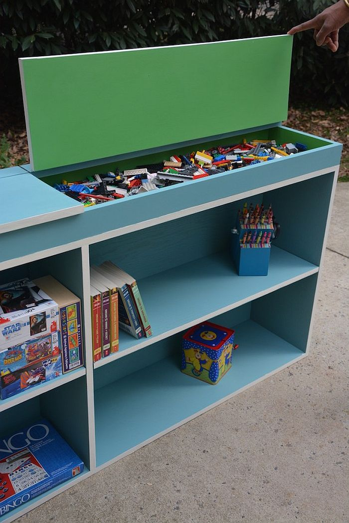 DIY hack of bookcase with top storage unit