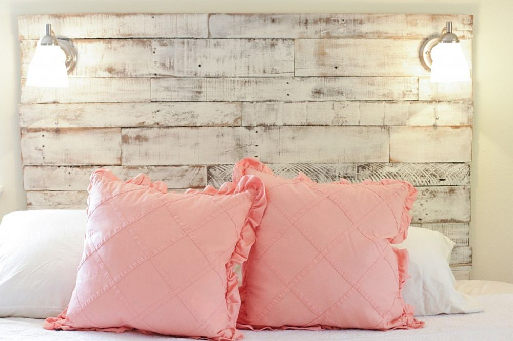 Distressed headboard for the shabby chic bedroom