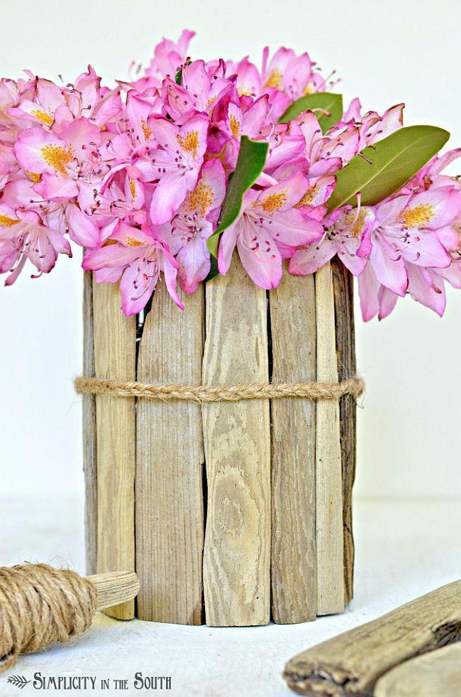 Homemade driftwood vase