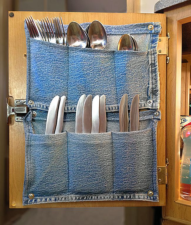 Jeans pockets turned into kitchen storage