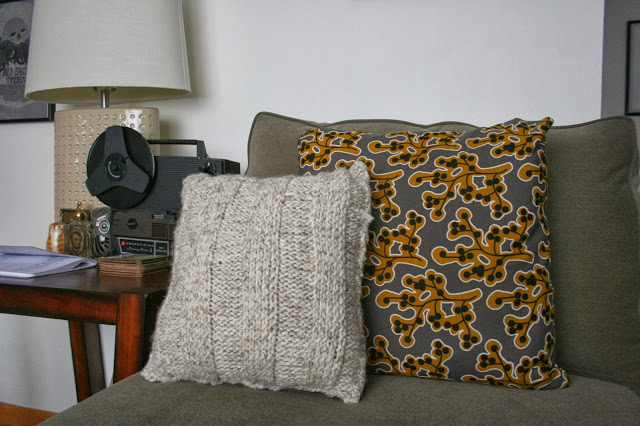 Knitted Grey Pillow