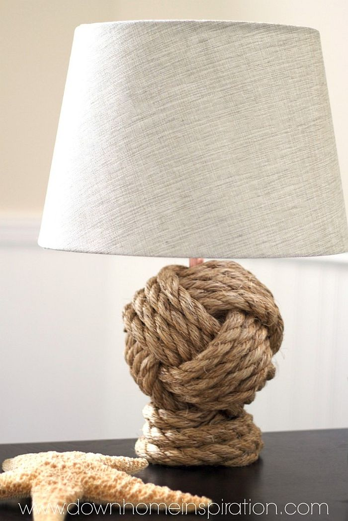 Knot Rope Lamp DIY inspired by Pottery Barn 7 Decorating Ideas to Bring the Beach to Your Home