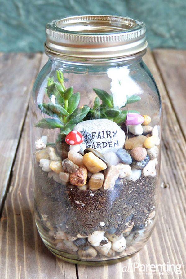 Mason jar with vertical terrarium