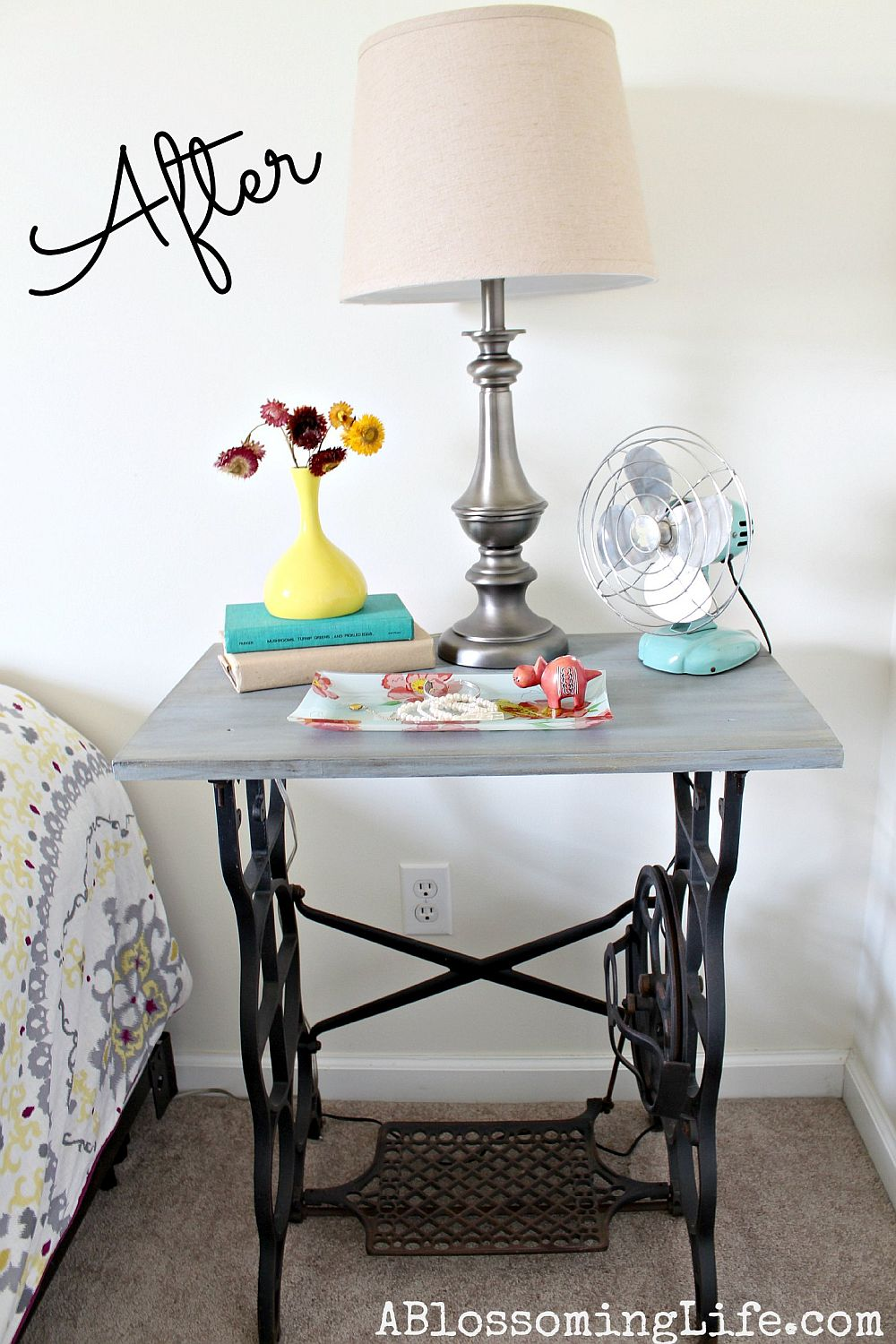 Nightstand from sweing table DIY