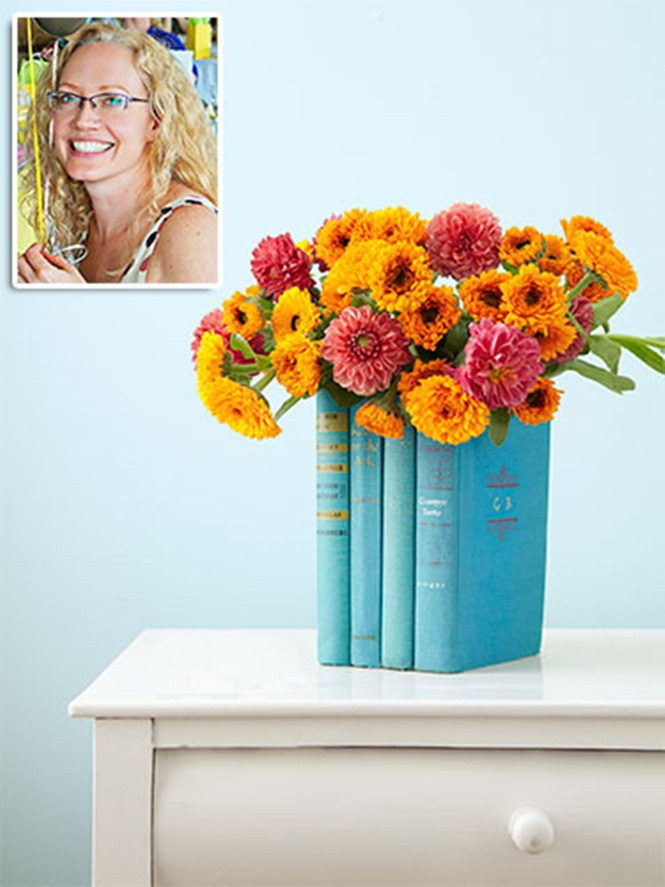 Old books turned into a cool vase