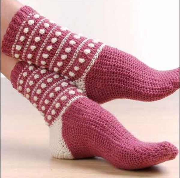 Polka Dot Popcorn Crochet Socks