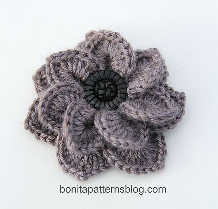Textured Flower with Button Center