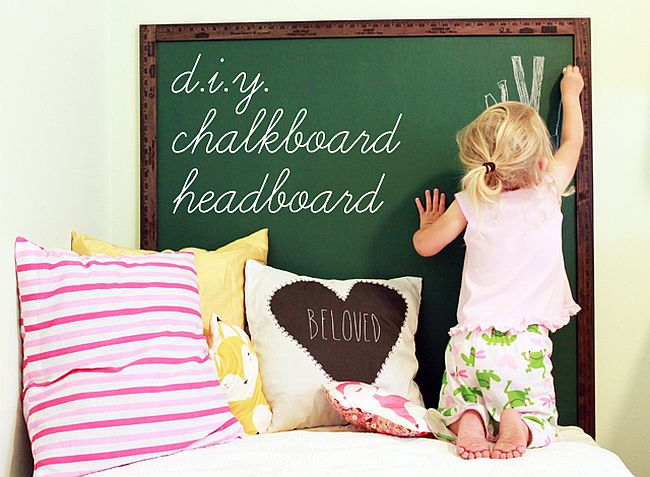 Ultra-cute chalkboard headboard DIY