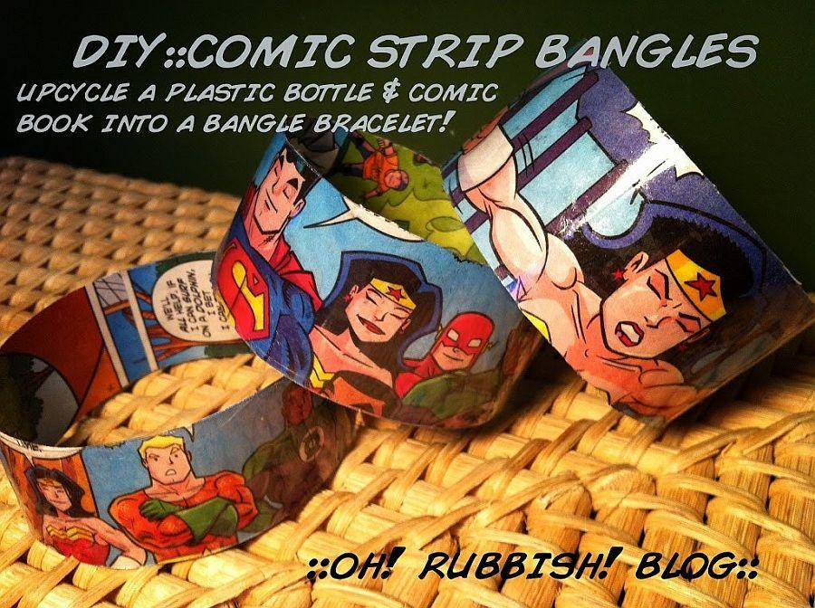 Upcycled Comic Book Bracelets DIY