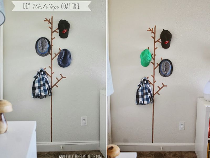 Washi tape coat rack
