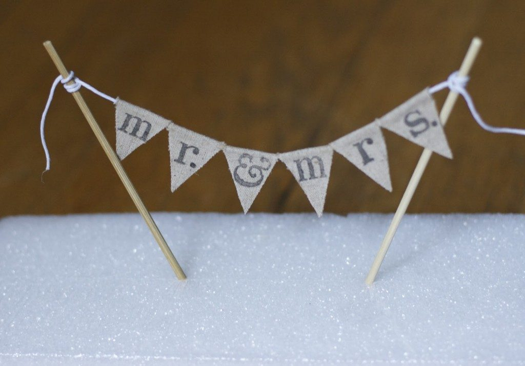 fabric bunting cake topper