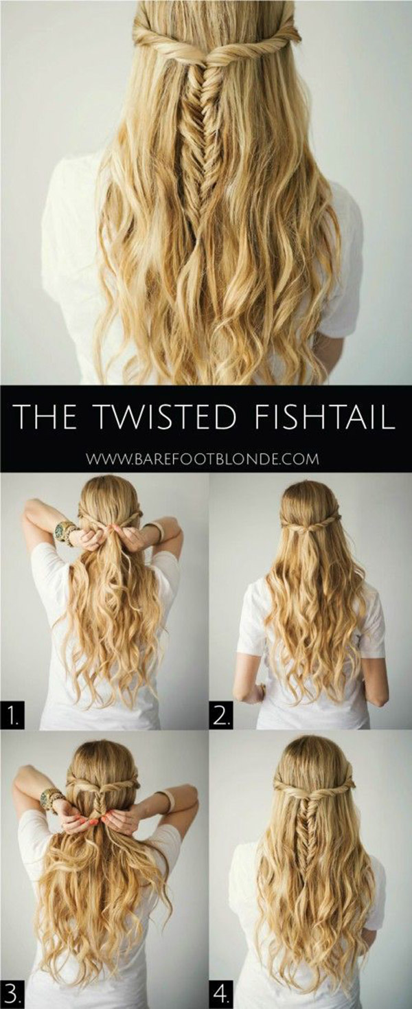 Twisted Fishtail Half-Up, Half-Down Hairstyle